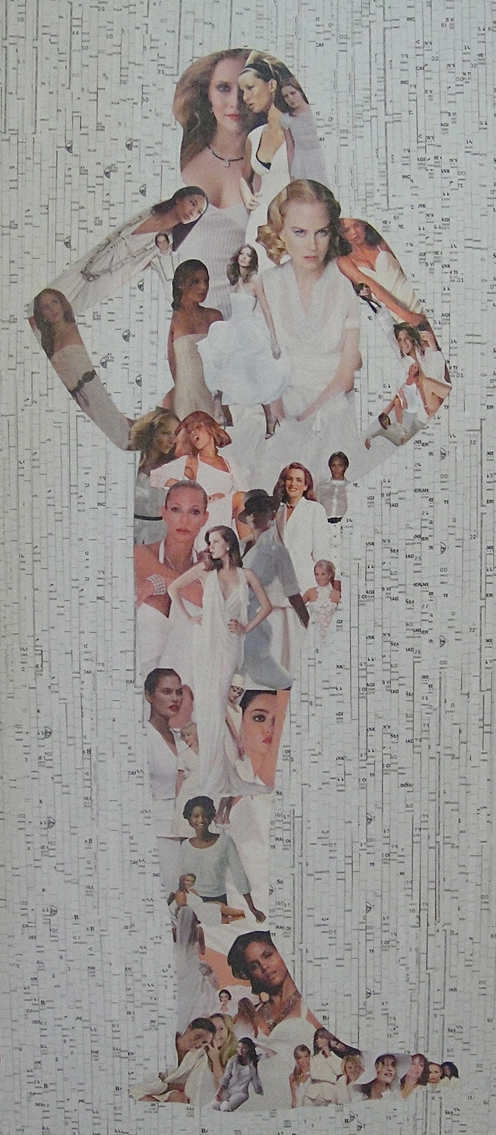 Collage of a female figure made from magazine clippings and old, blank checks: Good-Bye Guilt (2008)
