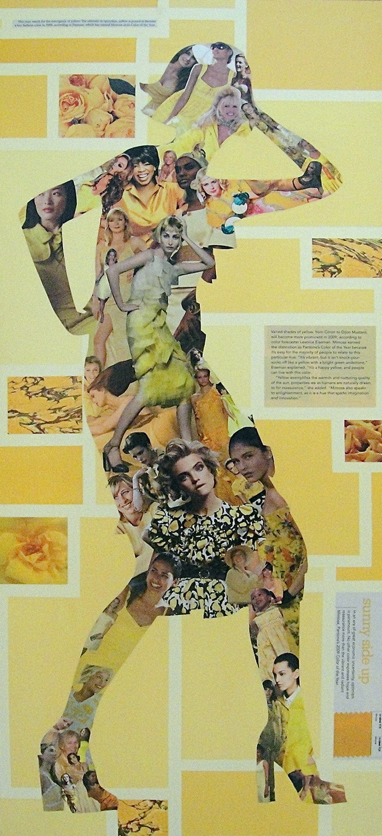 Collage of a female figure made from magazine clippings, decorative papers and paint: Optimism (2009)