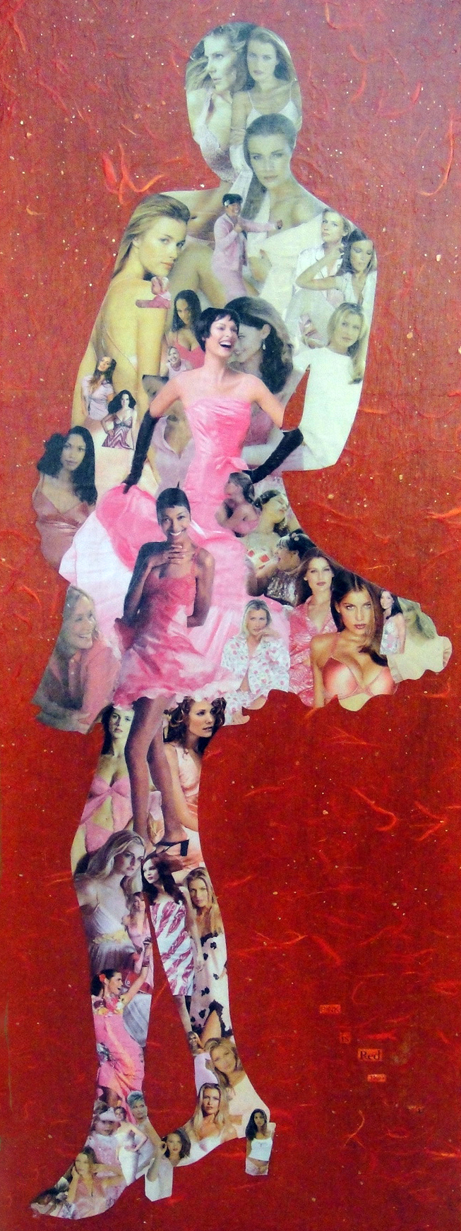 Collage of a female figure made from magazine clippings and decorative papers: Pink Is Red That's Very Shy (2008)