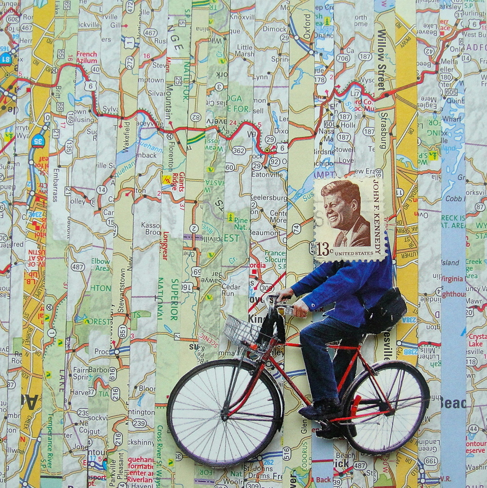 Collage made from postage stamps, magazine clippings and vintage maps: Route 6 (2014)