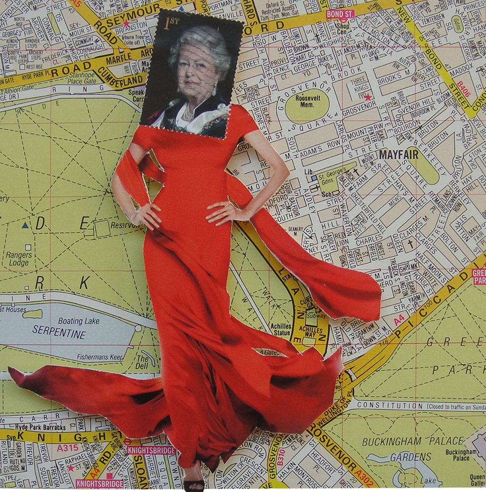 Collage made from postage stamps, magazine clippings and vintage maps: Queen's Walk (2014)