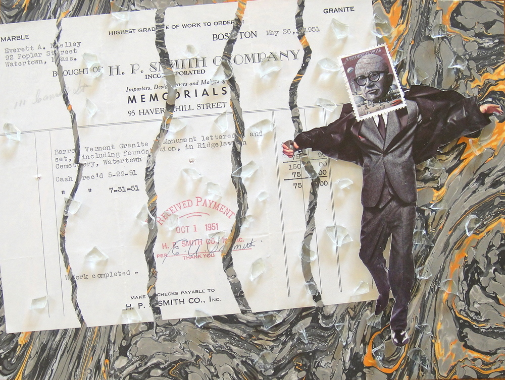 Mixed Media Collage Using 1951 Funeral Receipt, Marbled Paper, Broken Glass, Magazine Clippings and Postage Stamps: Work Completed (2014)