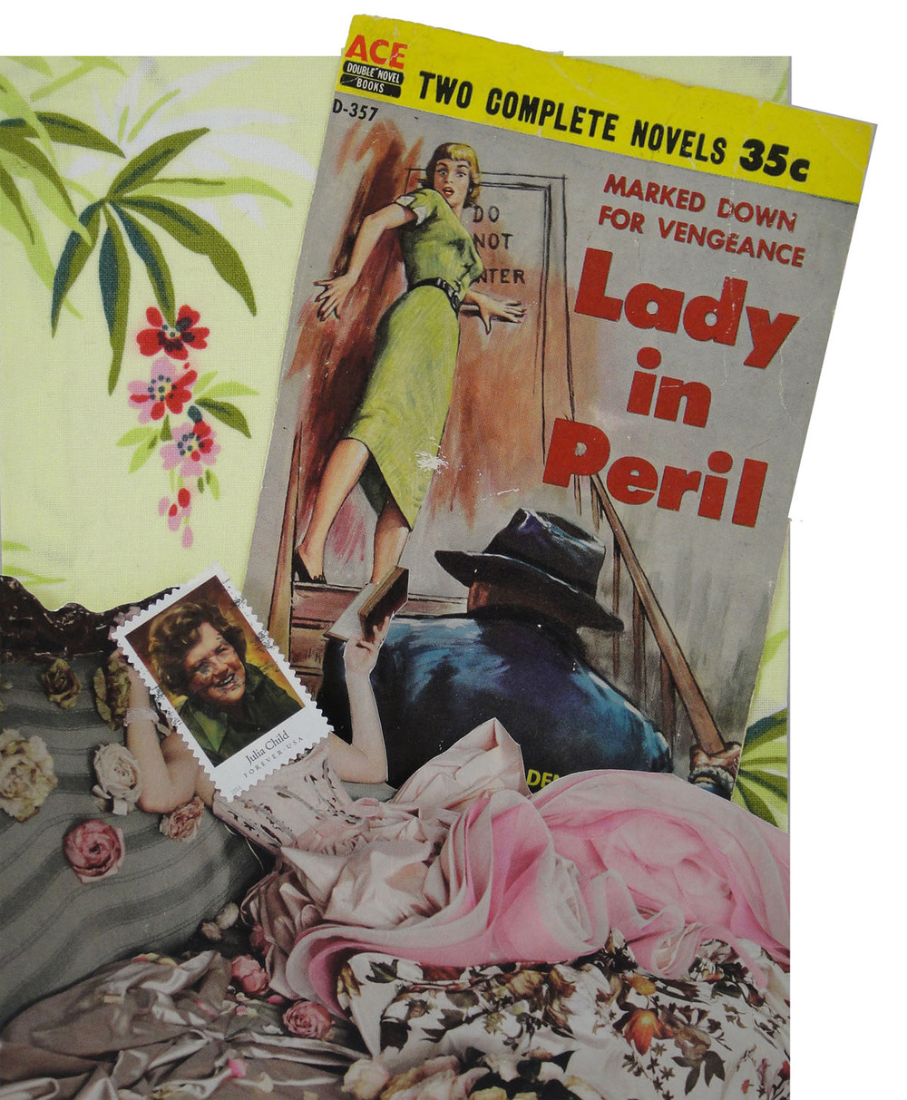 Collage made from postage stamps, magazine clippings, a paint strip and vintage hotel literature: Lady In Peril (2015)