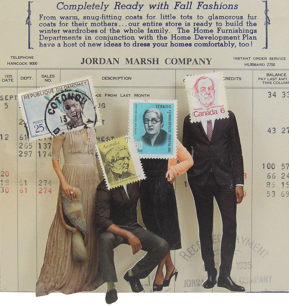 Collage made from postage stamps, magazine clippings and a vintage Jordan Marsh receipt from the 1930s: Completely Ready With Fall Fashions (2015)