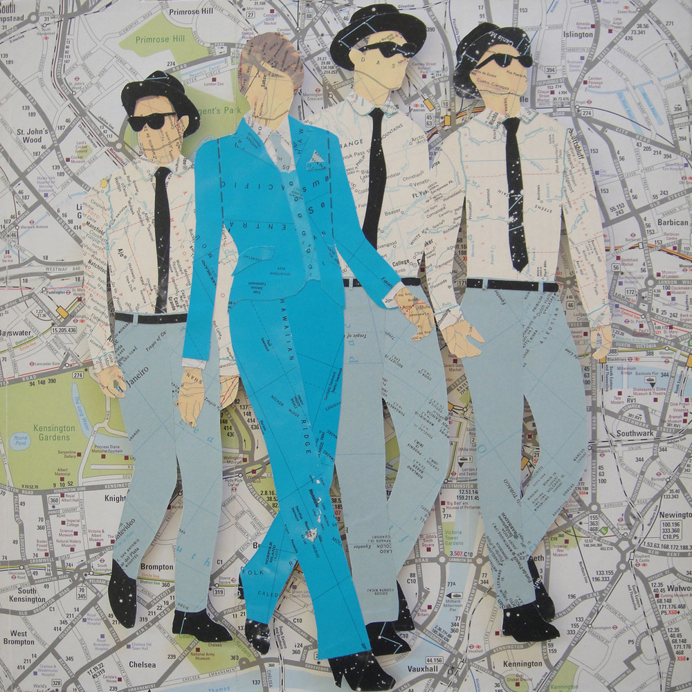 Collage using old maps: The Suit Makes The Woman (2015)