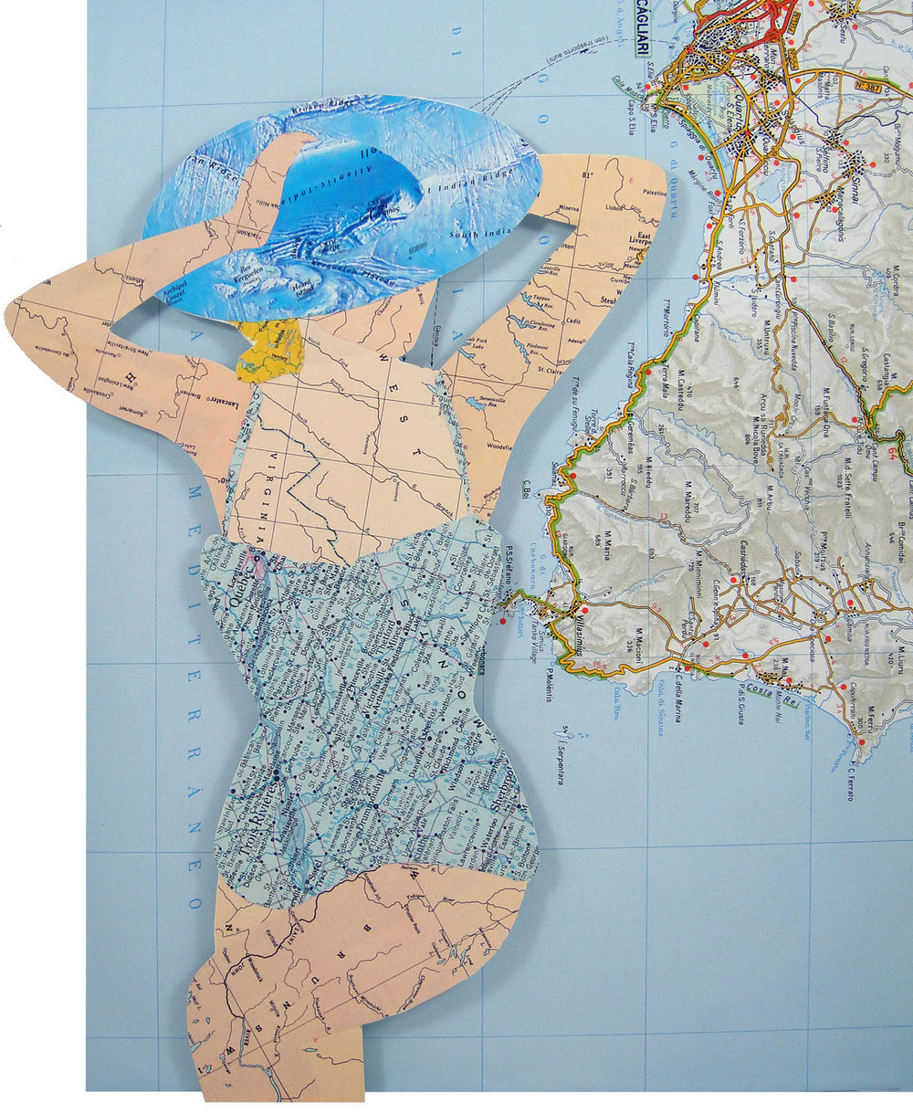 Collage using old maps: Costa Rei (2014)