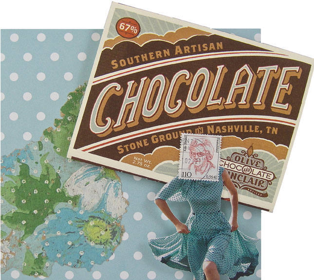 Collage made from postage stamps, magazine clippings, vintage wallpaper, decorative paper and a chocolate bar wrapper: Sixty Seven Percent (2015) 6X6