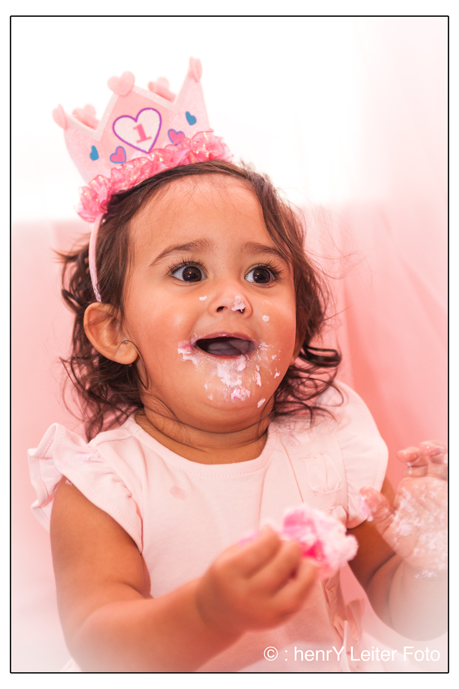 Isabella eating her birthday cake.