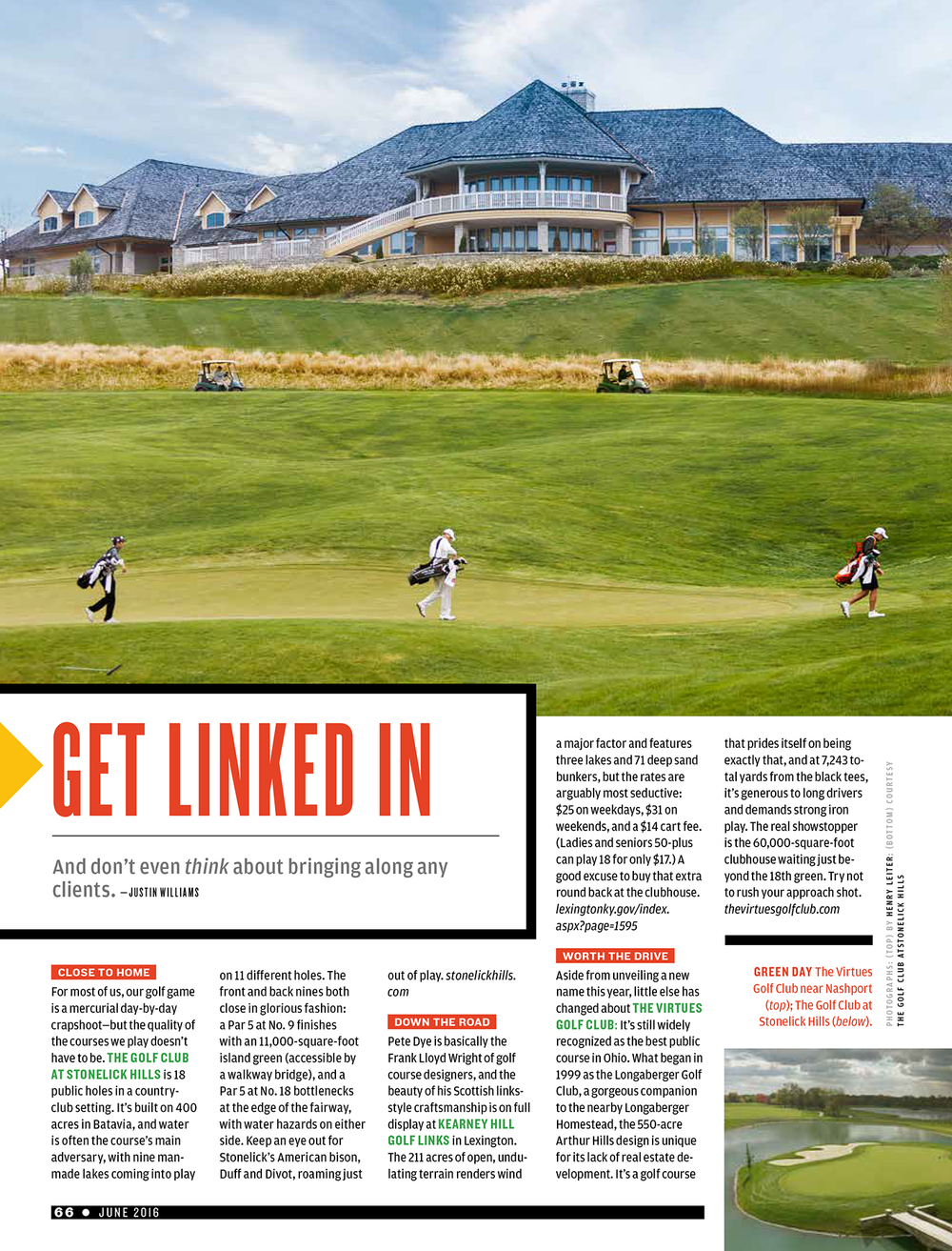 Tear sheet of the article with one of my photos featured at top of the impressive 60,000 square foot clubhouse.