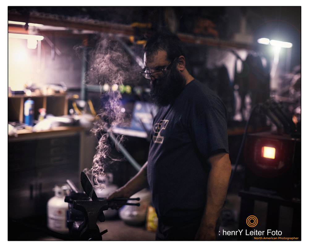 Portrait of the metal artist Adlai Stein by photographer henrY Leiter
