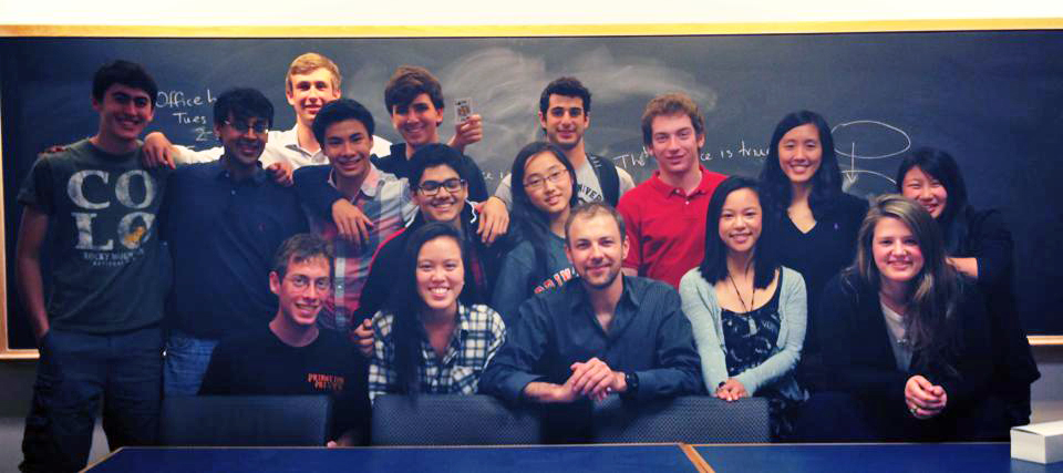 "Doug with the students of ""The Mathematics of Magic Tricks and Games"" freshman seminar at Princeton University"