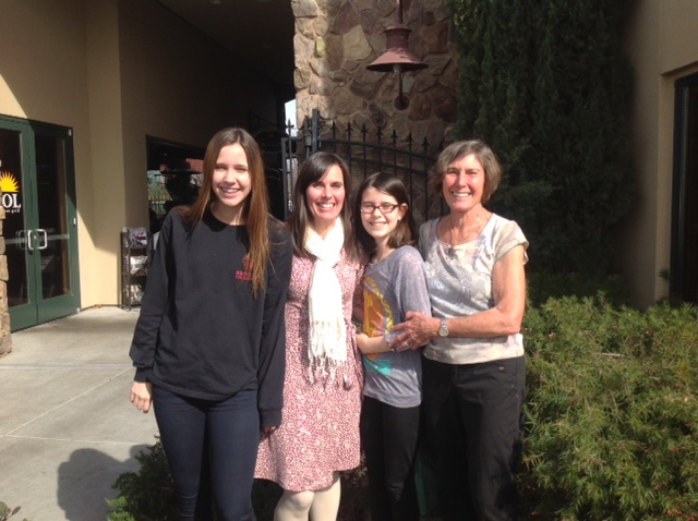 From L to R: Grand daughter Lucia, daughter Tina, grand daughter Stella, and Janice Condon. Stella and Tina are both featured characters in Janice's book.