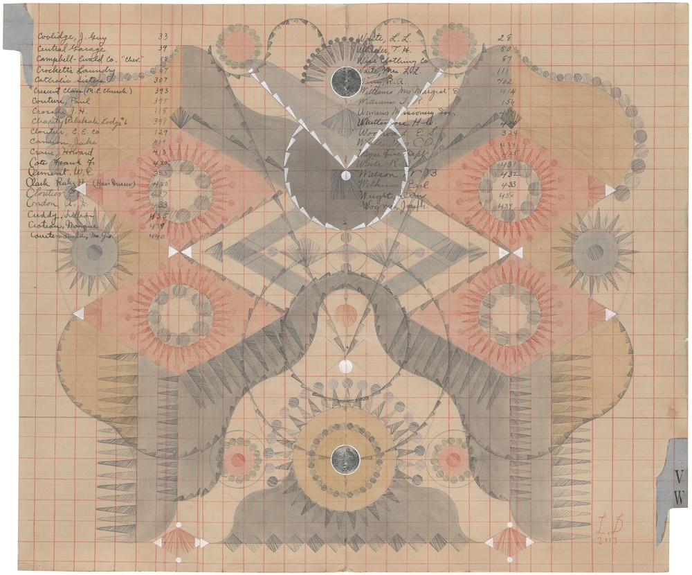 Hive Mind No.6, Pollen Loads,  Colored Pencil and Graphite on Antique Ledger Book Pages.  13.75 x 16.75 inches