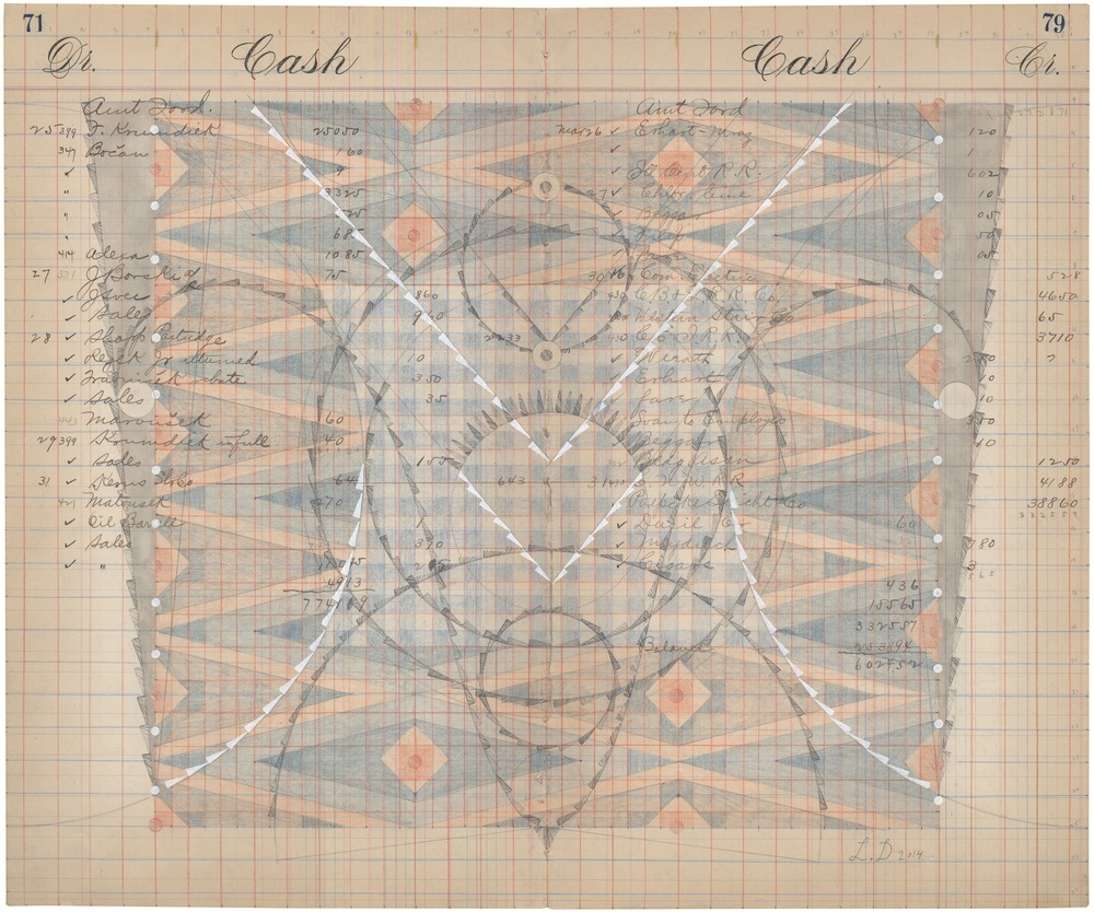 Cash Book No.71-79, Colored Pencil and Graphite on Antique Ledger Book Pages. 13.75 x 16.75 inches
