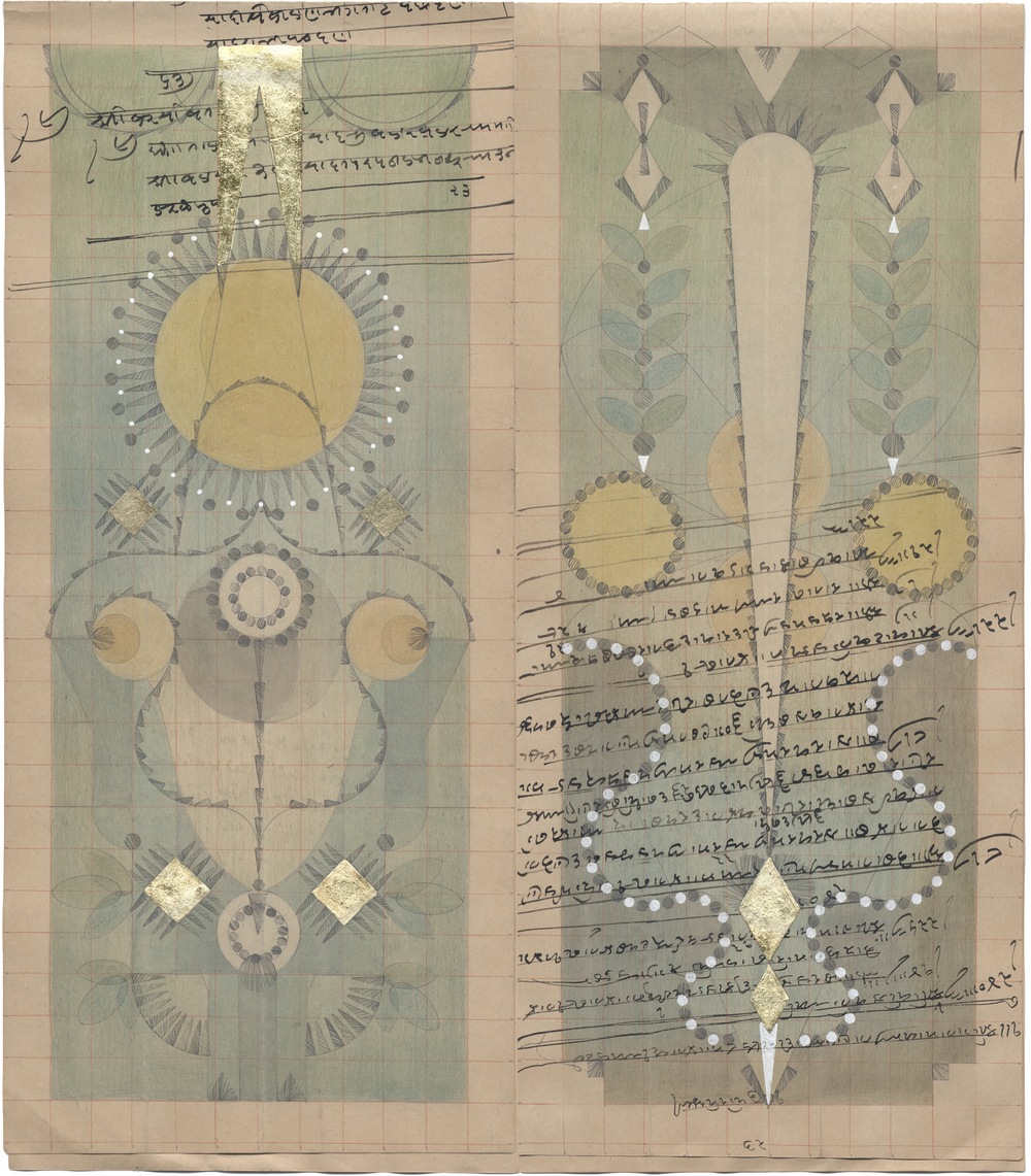 Dandelion Constellation II,  Colored Pencil and Graphite on Antique Ledger Book Pages.  13.5 x 12.25 inches