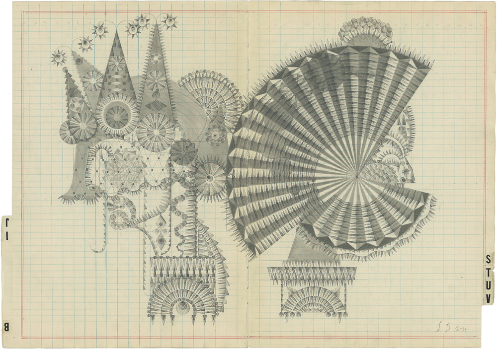 BIJ-STUV, Graphite on Antique Ledger Book Pages. 16 x23 inches