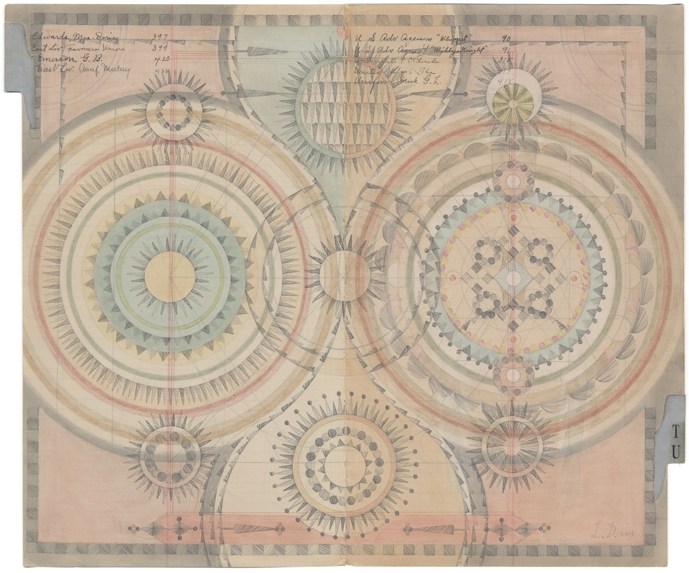 Simultaneity Irradiation, Colored Pencil and Graphite on Antique Ledger Book Pages. 13.75 x 16.75 inches