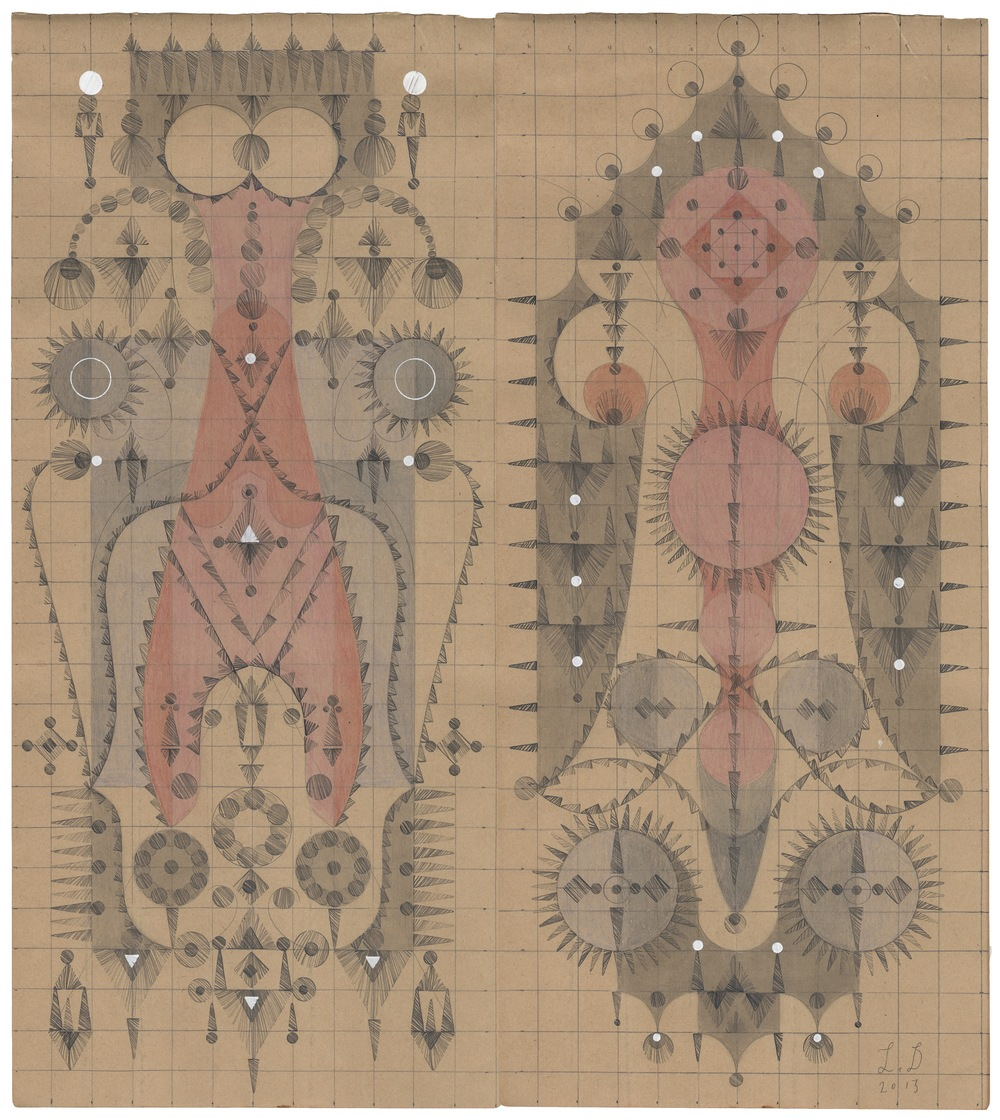Organ Fruit, Colored Pencil and Graphite on Antique Ledger Book Pages. 13.5 x 12.25 inches