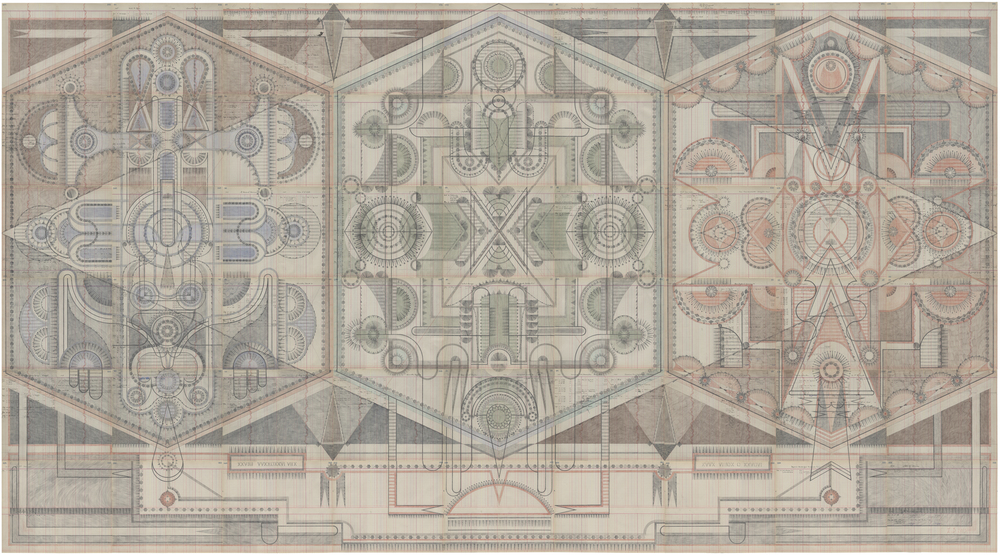 Roman Room,  Colored Pencil and Graphite on Antique Ledger Book Pages.  82.5 x 150 inches