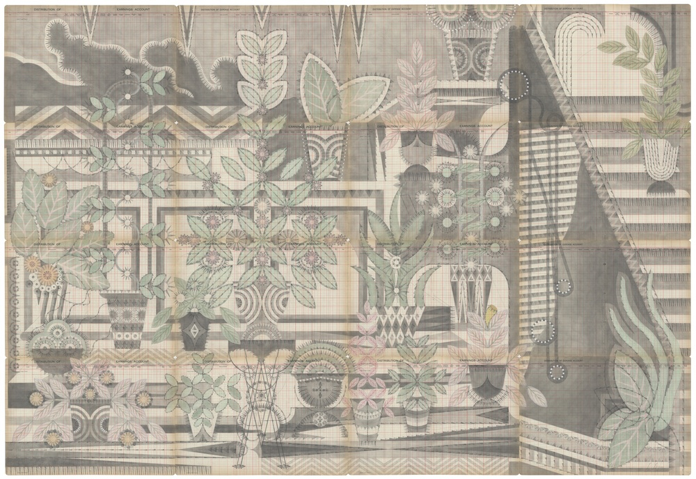Garden,  Colored Pencil and Graphite on Antique Ledger Book Pages.  56.5 x 82.5 inches