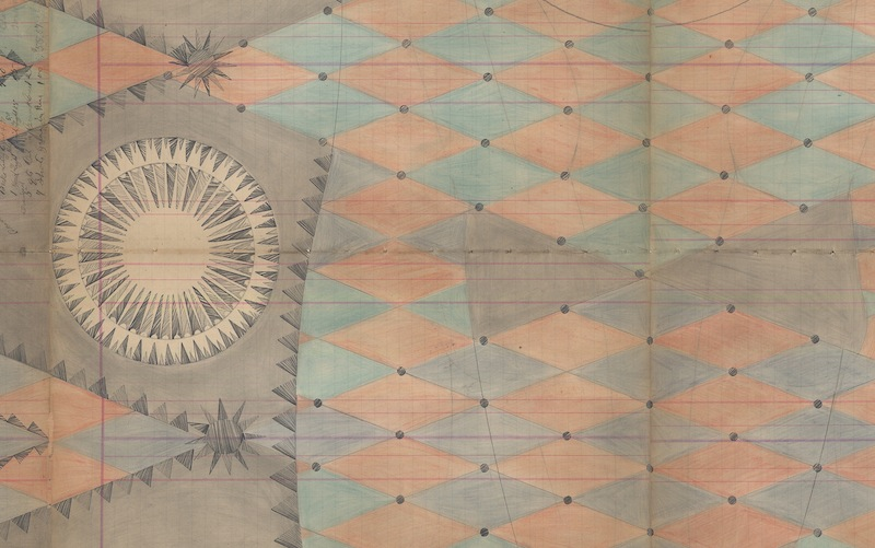 DETAIL of Jester Inversion, Colored Pencil and Graphite on Antique Ledger Book Pages. 82.5 x 54