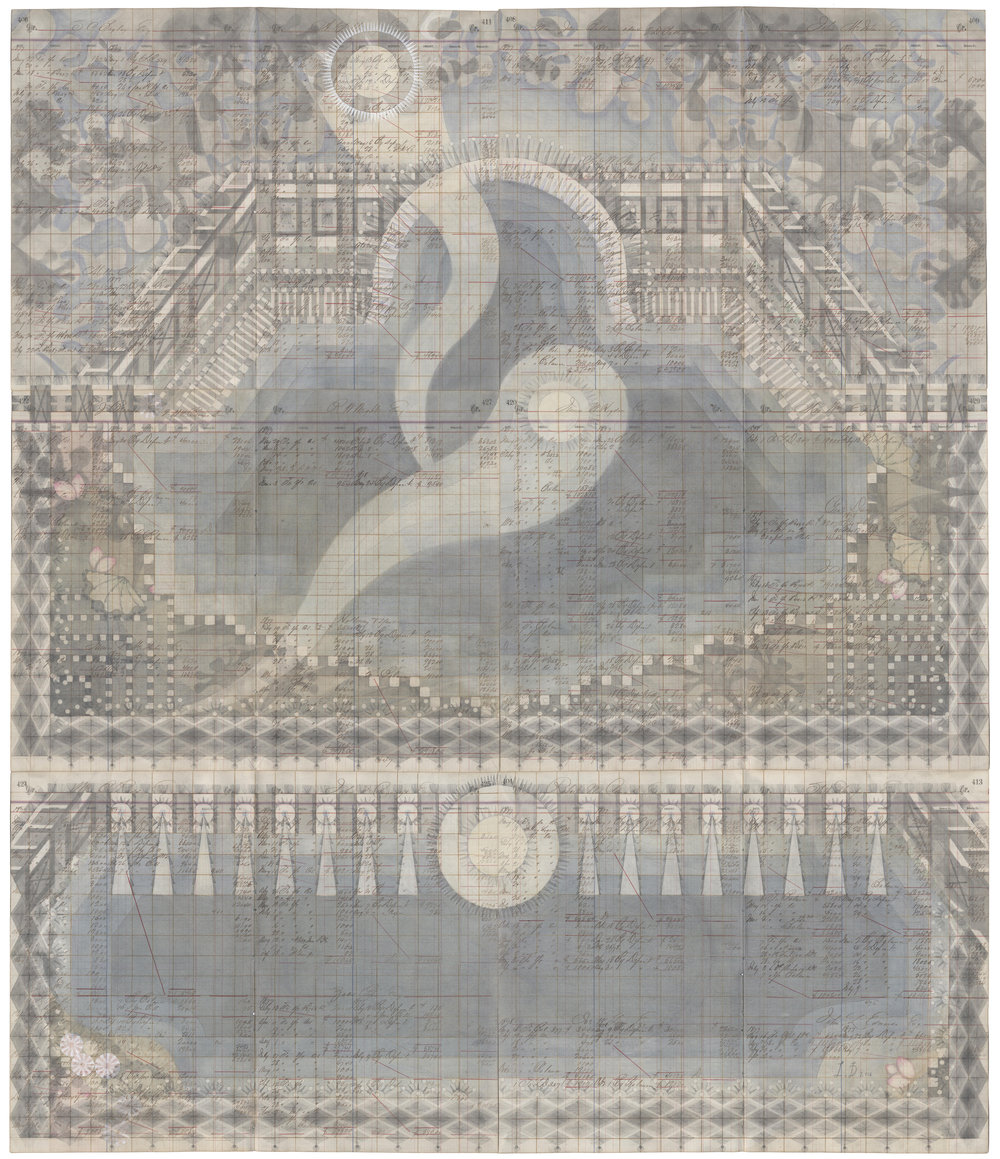 Water Temple, Colored Pencil and Graphite on Antique Ledger Book Pages. 55.5 x 47 inches