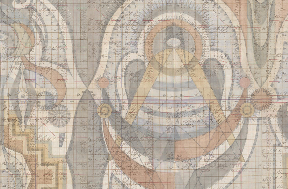 DETAIL of Stepwell Figures, Colored Pencil and Graphite on Antique Ledger Book Pages. 78 x 94.5 inches