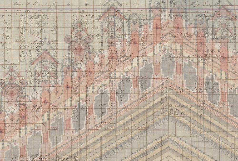 DETAIL of Diamond Stepwell, Colored Pencil and Graphite on Antique Ledger Book Pages. 55.5 x 47 inches