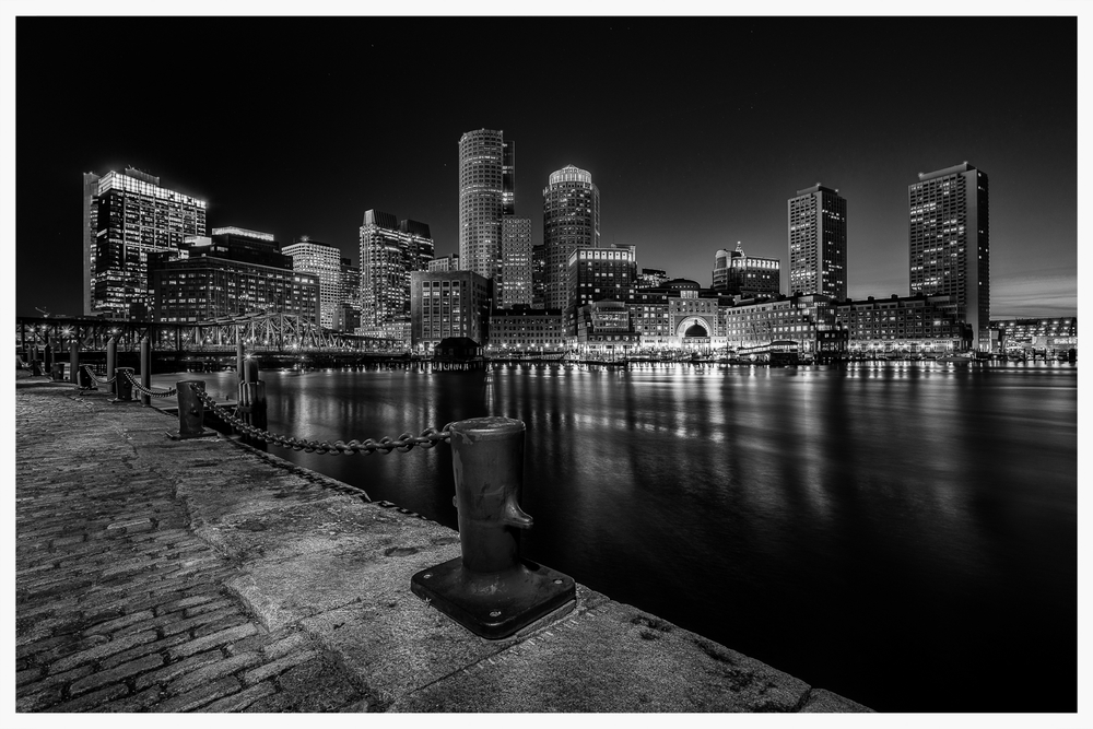 Boston Nighttime Skyline - B&W - 07.05.14
