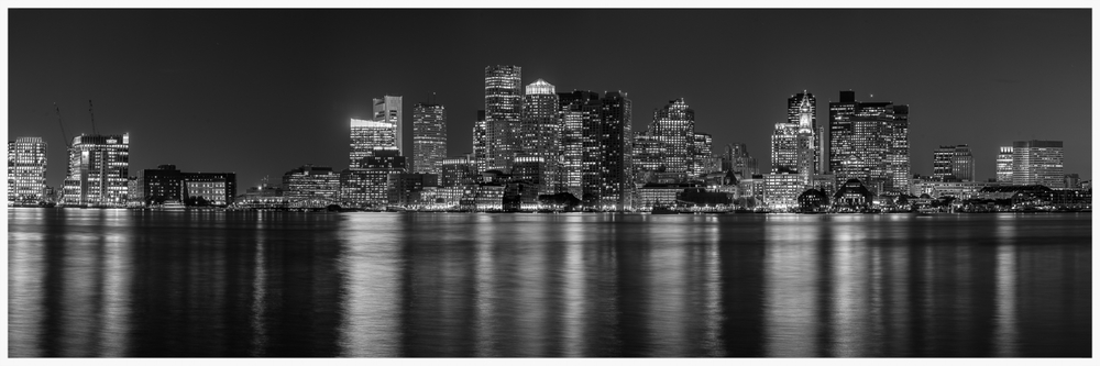 Boston Nighttime Skyline - B&W - 08.07.14