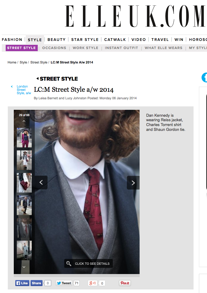 Shaun Gordon Tie in ELLE UK at LCM