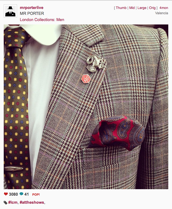 Close up of Shaun Gordon Tie – LCM via Mr. Porter Live