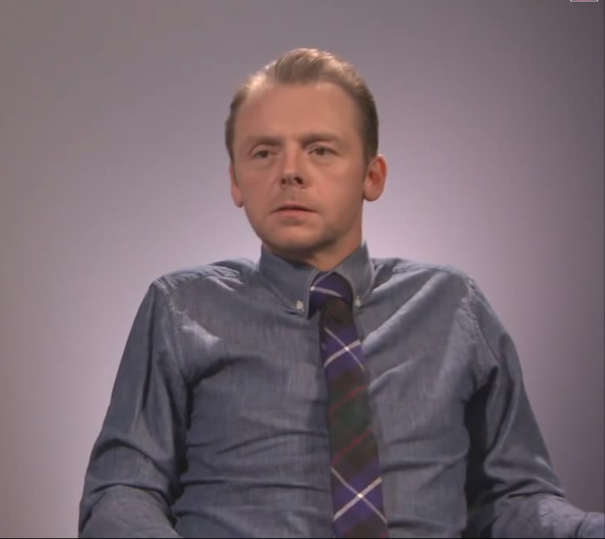 Simon Pegg wearing Shaun Gordon tie in Star Trek interview with J.J Abrams