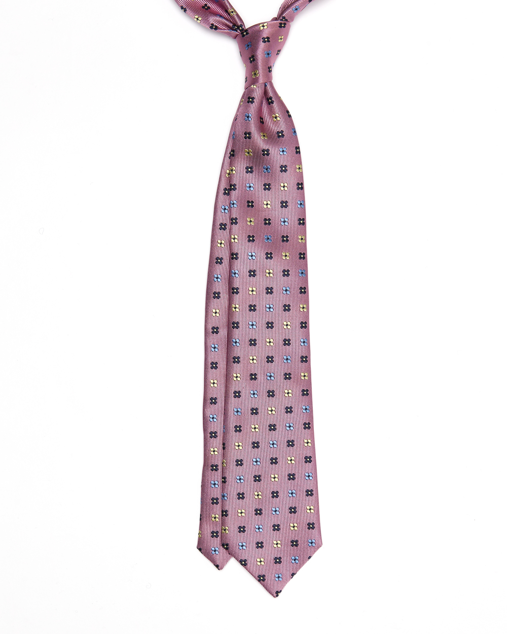 Alastair Tie | 100% Silk Jacquard Floral Neat | Colours: Pink base With Navy, Sky Blue And Off-white Flowers