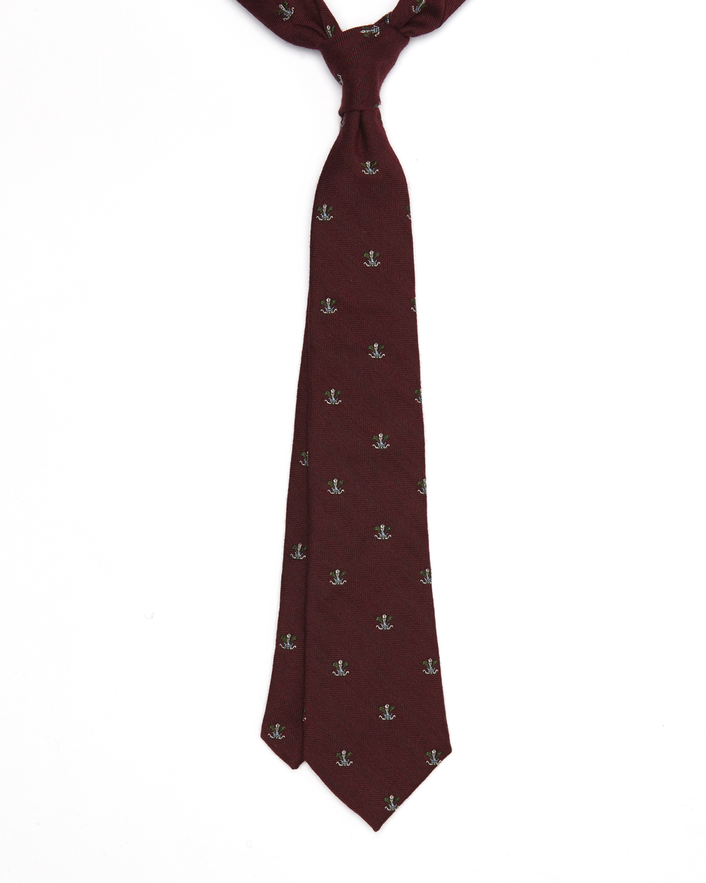 The Harold Tie | Silk & Wool Mix Herringbone Jacquard Crest Pattern | Colour: Burgundy, White, Blue, Green & Sky Blue