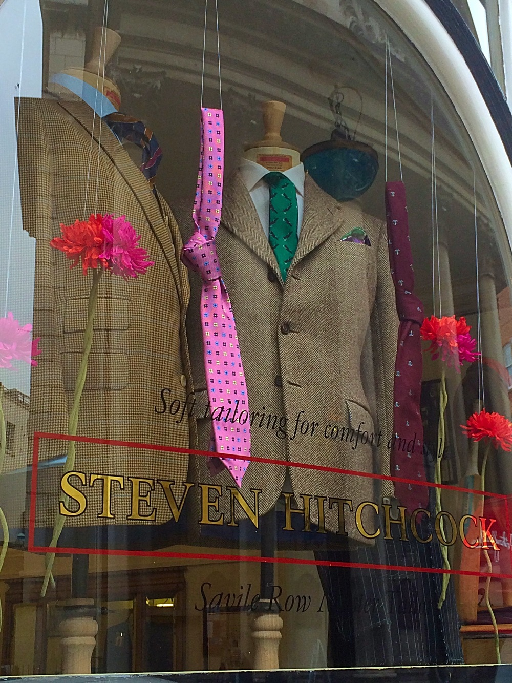 Front store window with Leonard, Alastair, Ernest and Harold tie. Styling: Celia Williams