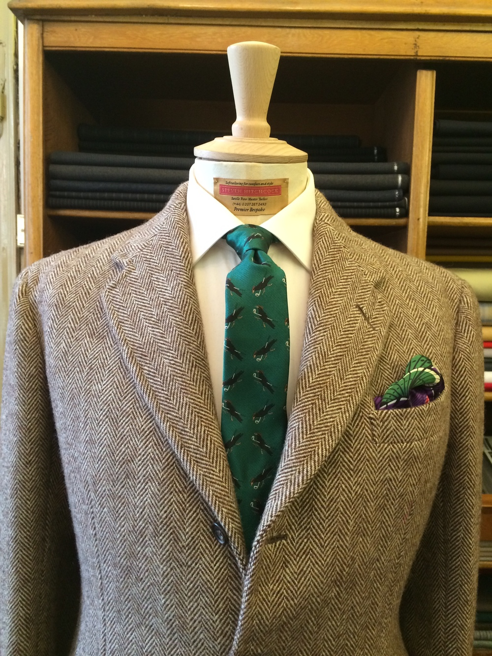 Steven Hitchcock Herringbone tweed bespoke jacket with the Ernest tie. Styling: Celia Williams