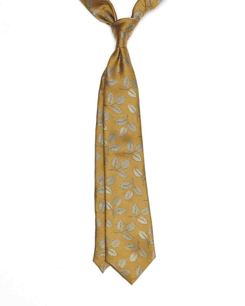 Hamilton Tie |100% Silk Jacquard Falling Leaves Pattern | Colour: Golden Yellow & Black