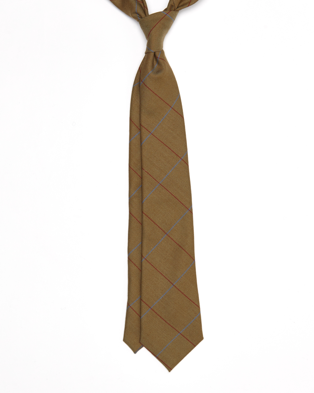 Taylor Tie | 100% Twill Wool Solway Window Pane | Colour: Light Brown, Red & Blue