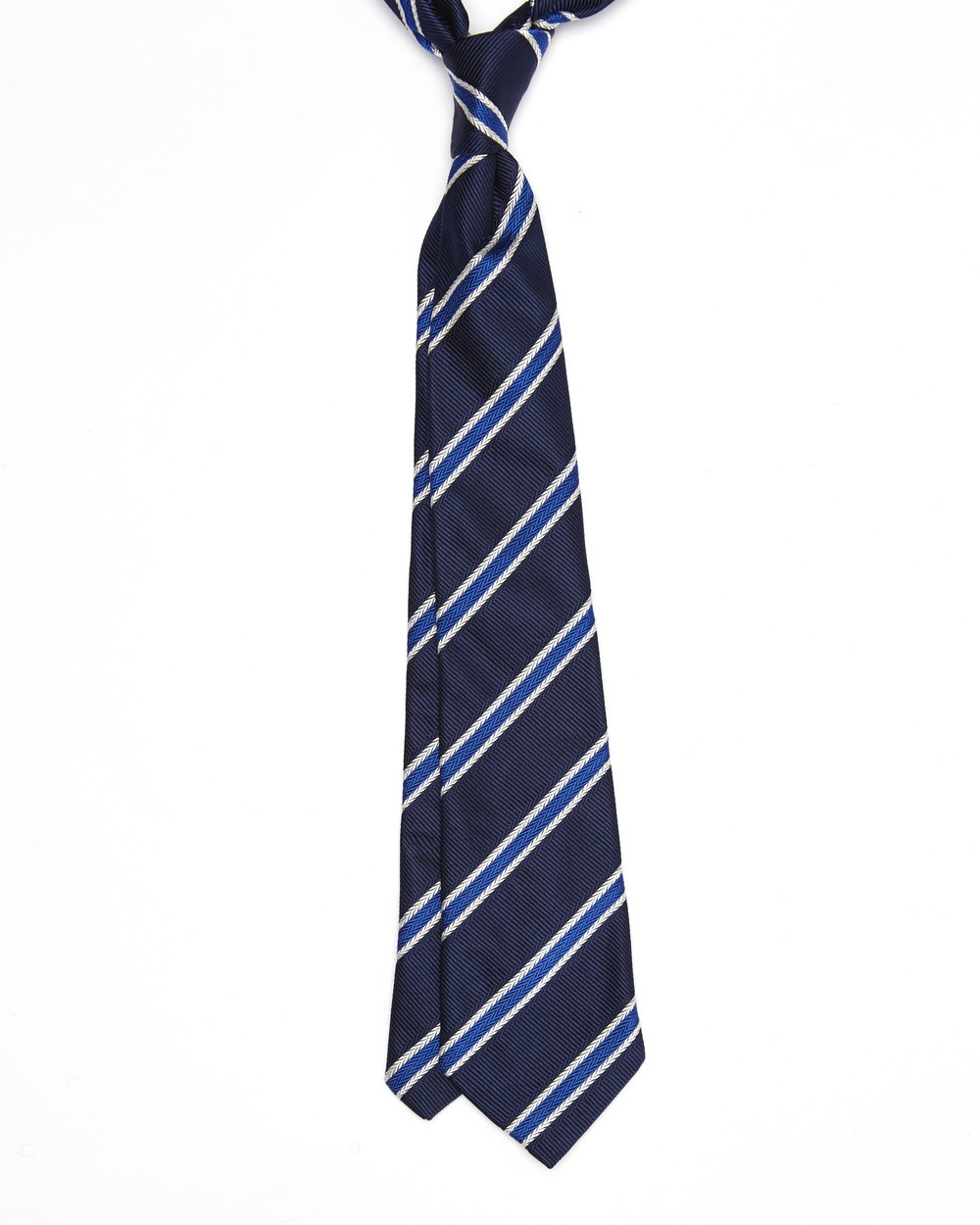 Elroy Tie | 100% Silk Jacquard Herringbone Stripe | Colour: Navy, Colbolt Blue & White