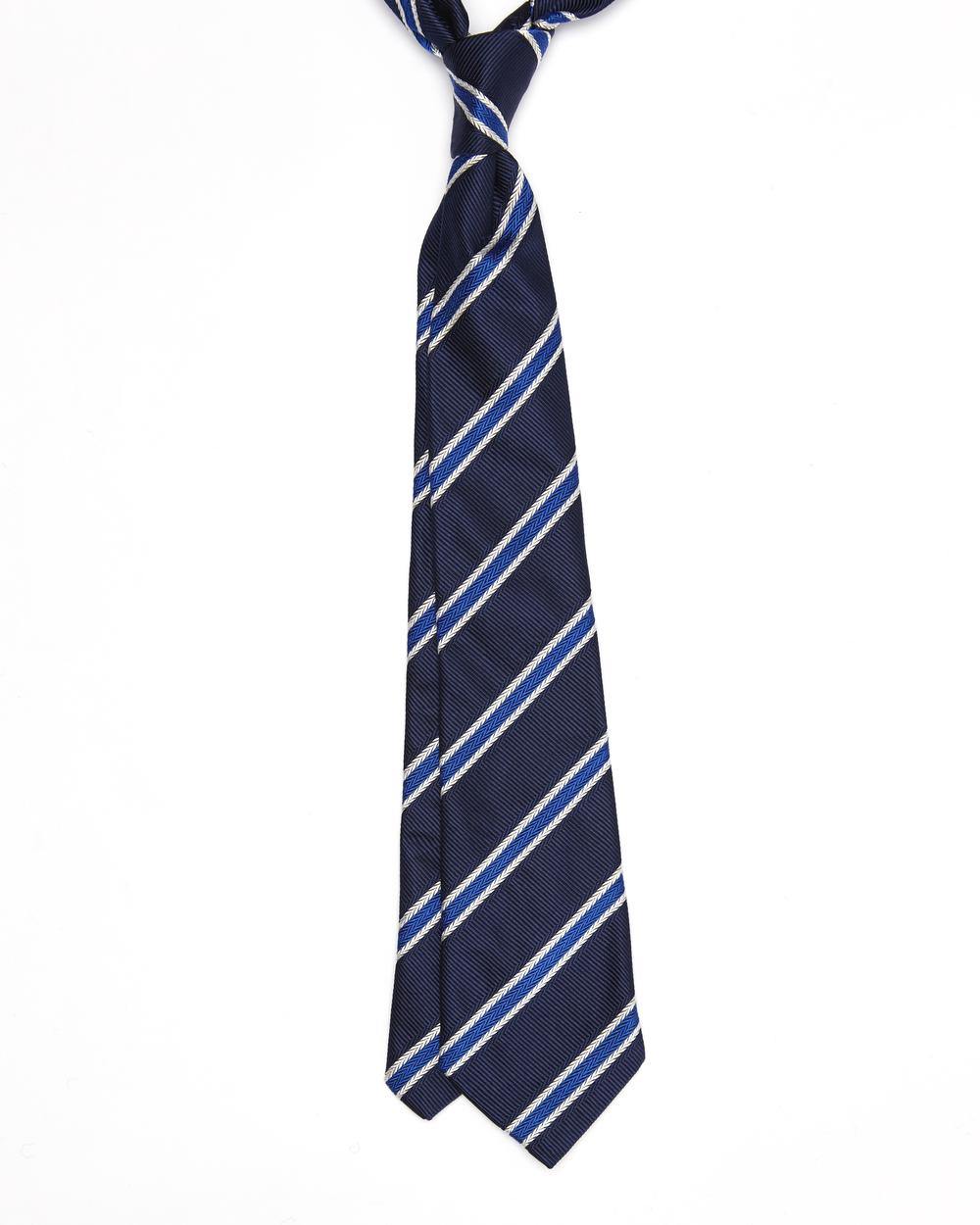 Elroy Tie |100% Silk Jacquard Herringbone Stripe | Colour: Navy, Colbolt Blue & White