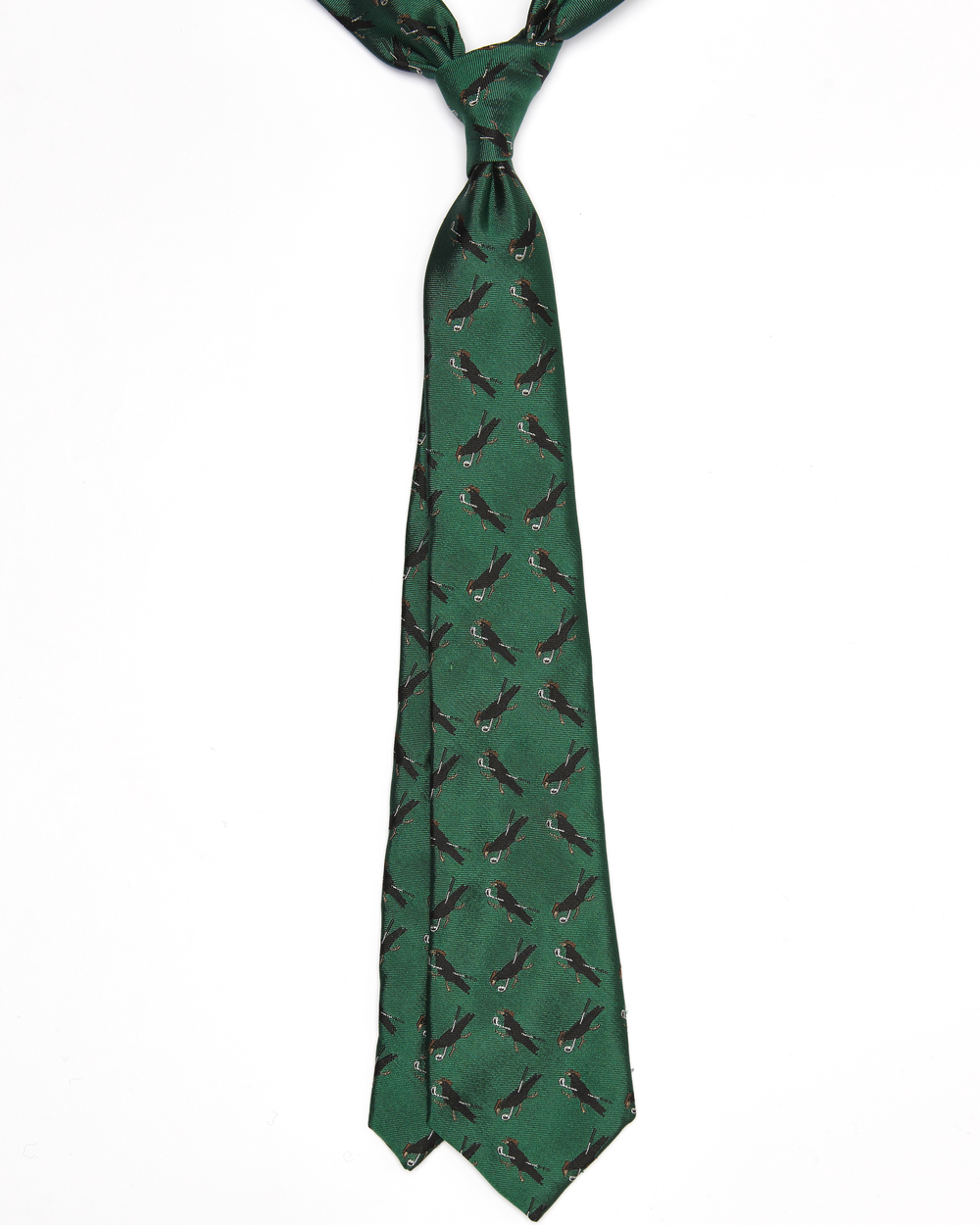 The Ernest tie is suitable for someone who generally wears black clothes and adds bold colours to make a visual statement. This also can be worn to 'lift' a forest green worsted blazer, due to the emerald green colour. This is a good choice for someone who doesn't take themselves too seriously, especially since the patterns of crows playing golf.  Click on photo for more information on this tie.