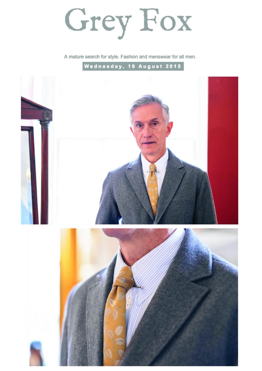 Grey Fox Editorial featuring the Hamilton Tie, August 15.
