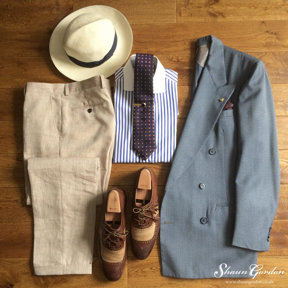 Rupert Style: Consists of the classic Blue and Sand colour story, which is quite versatile because you can add contrast colours such as Burgundy, to create pleasing visuals. Believe it or not a Panama hat with a broad brim will help keep you cool by shading the sun away from your head and due to its lightweight material, allows air to pass through.