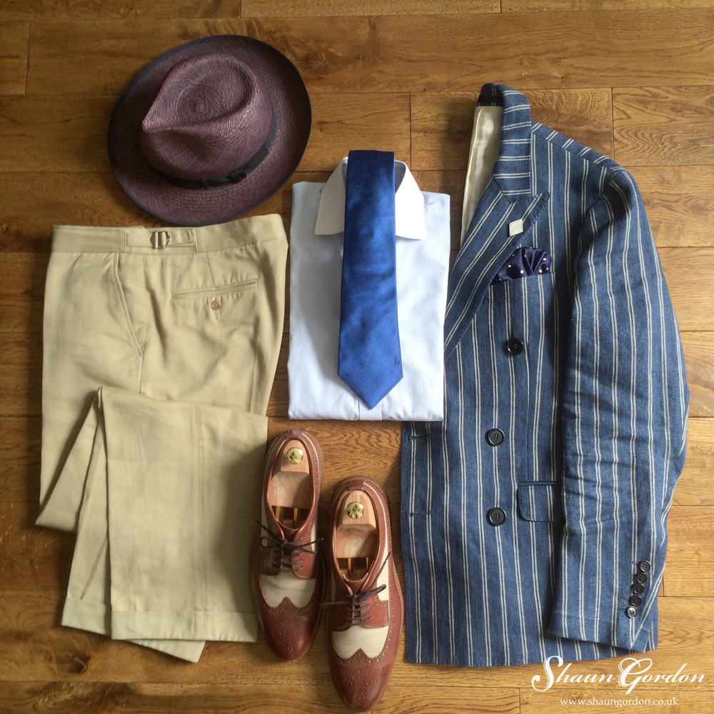 Beau Style: If you love Blue and probably wear Blue all the time (as I do).  Then mixing it up by wearing Khaki chinos and spectators shoes will certainly add panache to your look.