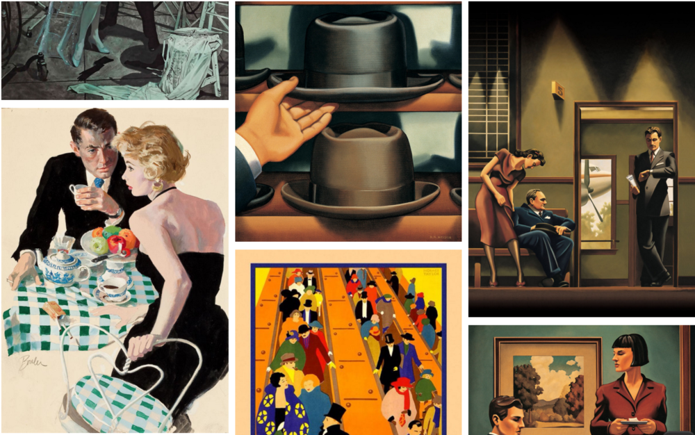 The elegance of clothes from Vintage illustrations, posters and Art by Kenton Nelson. These were the days when gentlemen wore hats. No matter the shape of their faces! See the guide on Tom Smarte website on which hat could be best for you.