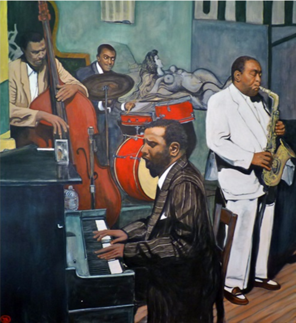 Paintings of Jazz artists are quite fascinating because it captures an intimate moment of the musician and instrument becoming one. Painting of Monk, Parker, Mingus, Haynes at The Open Door in Greenwich Village, Sept. 1953 by Tom Roderick.