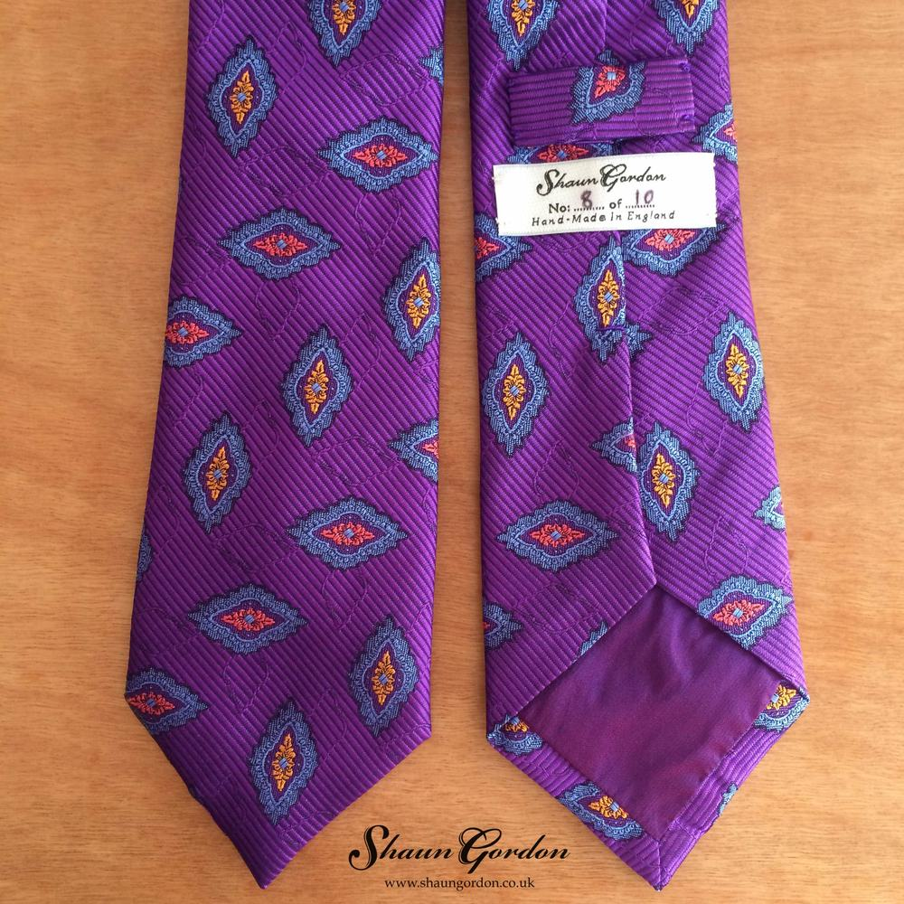 The tipping fabric is quite special because when you hold it at an angle in the light, it shows a sheen of complimentary violet. If your lucky number is 1 or 7, unfortunately it has been sold already. However all is not lost, there are 8  more ties available and we ship worldwide.