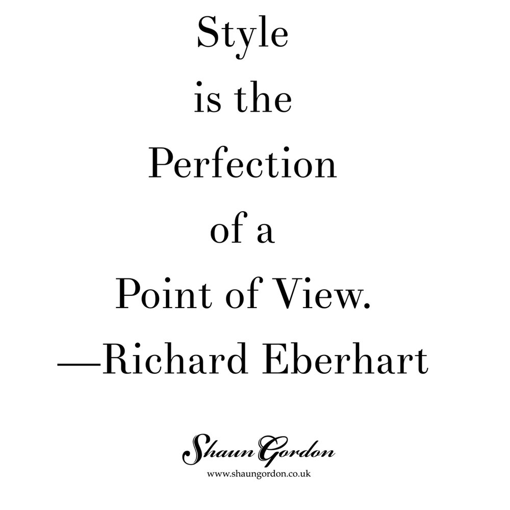 Style quote - Richard Eberhart.