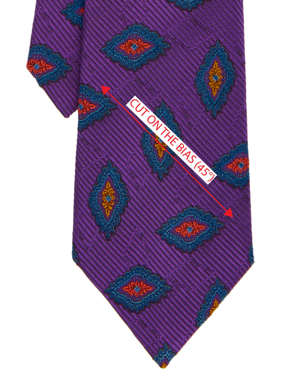 Generally ties are made from silk material, however in the recent years, we have seen ties made from Wool and Cotton. The fabric is cut on a bias, which means the pattern is cut on 45° angle because the natural stretch or 'give' in the material helps the knot to form without too much tension on the fabric.  Cutting the tie on the bias will allow the tie to drape well and recover quickly when the wearer has finished for the day. Another key point to note is that when it comes to folding the tie in the final stages, it creates a much more softer roll edge than if you were to cut it on the grain for an example.